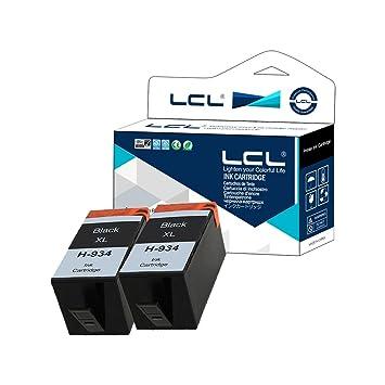 LCL Cartucho de Tinta Compatible 934XL (2 Negro) Reemplazo para HP Officejet Pro 6830 6230 6815 6835 6812 6820 6220 Printers