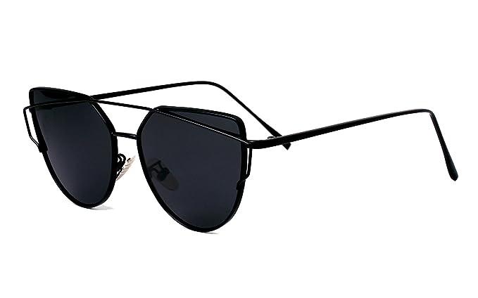 e3142ed5d24d5 Beison Womens Cat Eye Polarized Sunglasses Flat Lens Metal Frames (Black  frame Black lens