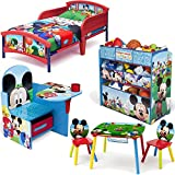 Disney Delta Children Mickey Mouse Clubhouse 6-Piece Furniture Set - Plastic Toddler Bed, Table and Chairs set, Multi Bin Toy Organizer and Chair Desk With Storage Bin