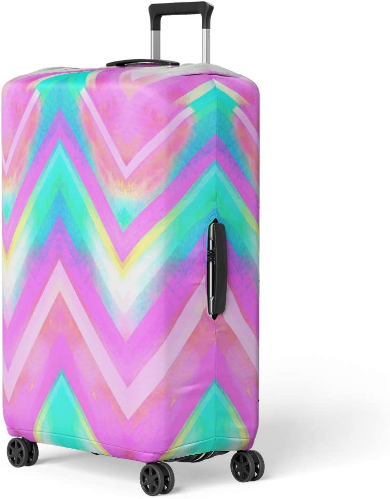 Pinbeam Luggage Cover White Chevron Contour Lines on Zigzag Pattern Linear Travel Suitcase Cover Protector Baggage Case Fits 26-28 inches