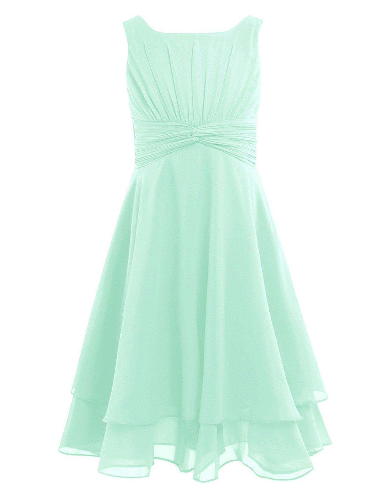 4-14Y Little Girls Ball Gown Flower Girls Dresses First Communion Dress Vestidos Pageant Dresses,Mint Green,Child-4