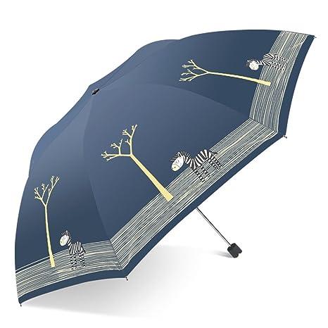 SX-ZZJ Paraguas Plegables Paraguas Plegable Femenina Doble Uso Pequeño Fresco Estudiante de Dibujos Animados Lindo Paraguas de Vinilo Protección Solar ...