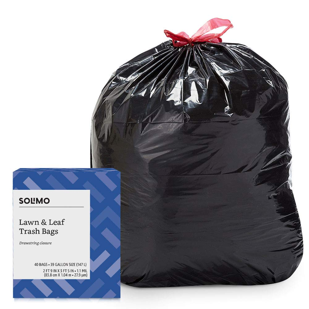 Amazon Brand - Solimo Lawn & Leaf Drawstring Trash Bags, 39 Gallon, 40 Count by Solimo
