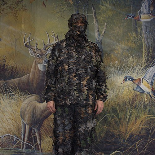 SAS 3D Leafy Camo Ghillie Suit for Hunting Camping Hiking...