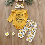 PigMaMa 3 Pcs Infant Baby Girl Clothes Letter Print