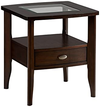 Captivating Jofran Montego Merlot Square End Table With Small Drawer