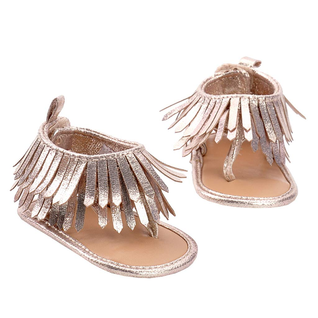 Fityle Bohemian Style Baby Sandals Tassels Soft Sole Dress Shoes for Girls Prewalker Toddler Gifts