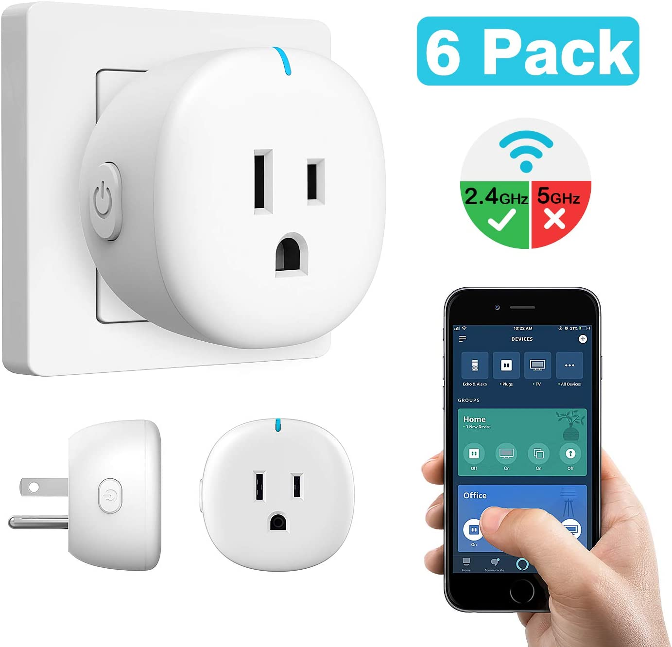 MoKo WiFi Smart Plug, 6 Pack Mini WiFi Outlet Mini Socket Work with Alexa Echo, Google Home, SmartThings, APP Remote Control Timer Plug, 10A Only Supports 2.4GHz Network No Hub Required, White