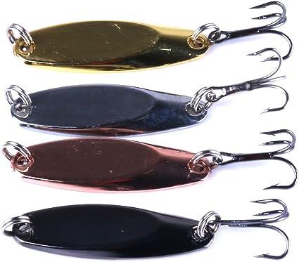 Jigs Fishing Lures Sinking Metal Spoons Micro Jigging Bait with Treble Hooks