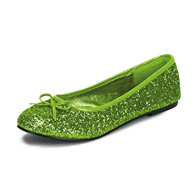 Summitfashions Womens Bright Lime Green Ballet Flats with Glitter and Bow  Detail No Heel Shoes Size f76e9bca8