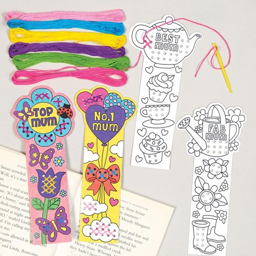Baker Ross Mothers Day Cross Stitch Craft Bookmark Kit for Children to Personalize - Make Your Own Creative Gift Set for Kids (Pack of 4) ()