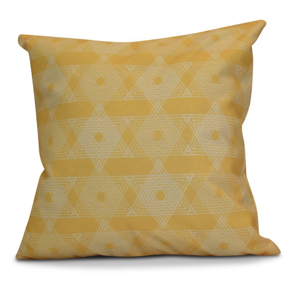 E by design O5PGHN566YE9-16 16 x 16 Decorative Geometric Holiday Yellow Outdoor Pillow