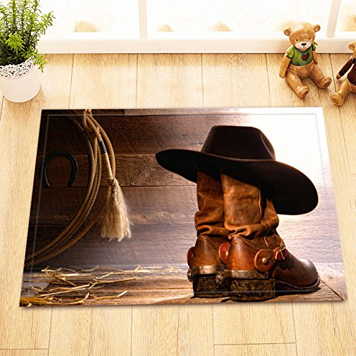 LB Western Cowboy Boot Hat Rustic Barn Wood Small Shower Carpet, Slip Proof Rubber Backing Microfiber Surface, Texas Country Theme Bathroom Rug 15 x 23 Inches by LB (Image #1)