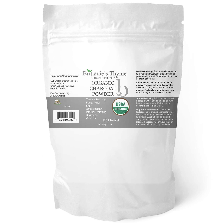 Organic Charcoal Powder, 1 lb - USDA Certified Organic. Food Grade Powder, Non-GMO, Vegan, No Fillers 100% Pure Use for teeth Whitening Facial Masks Detoxing