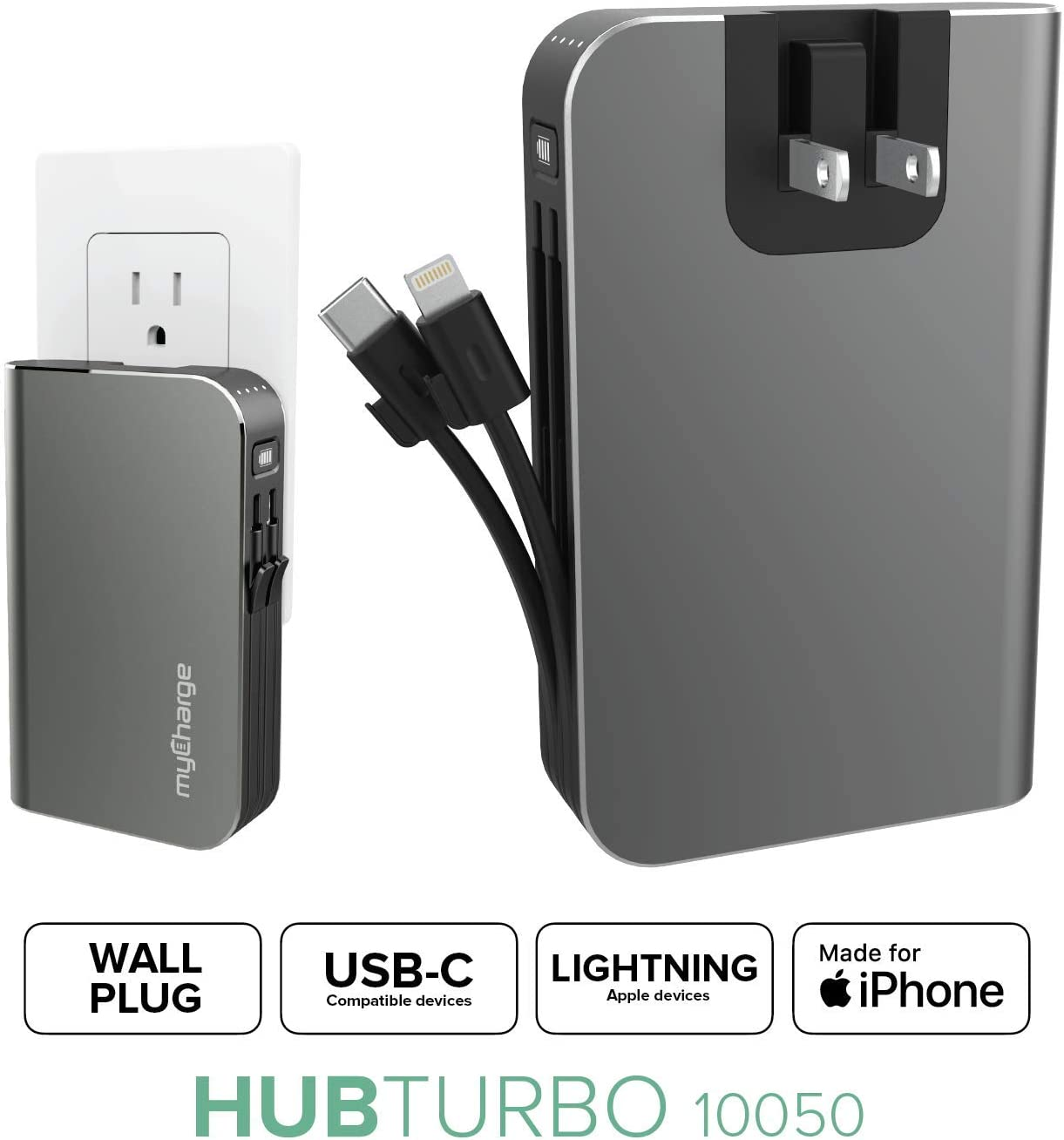myCharge Portable Charger with Built in Cables & Wall Plug [iPhone Lightning + USB C] 10050 mAh 18W Hub Turbo Fast Charge Power Bank Cell Phone External Battery Pack for Apple & Android for Samsung