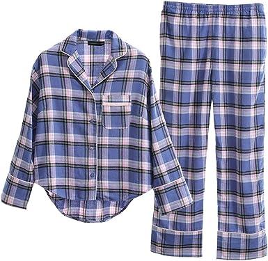 Pijama Pijamas De Manga Larga De Algodón Dulce A Cuadros De ...