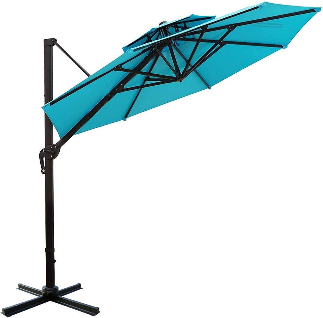 Sunnyglade 11ft Double Top Patio Offset Hanging Umbrella Round Deluxe Outdoor Cantilever Umbrella with Easy Tilt for Garden, Backyard, Patio,Pool Blue