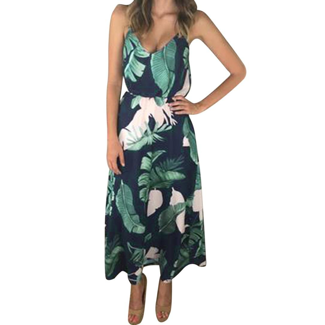 HI-MZY Summer Sexy O-Neck Floral Leaves Print Party Strappy Sleeveless Bohe Beach Dress (2XL, Green)