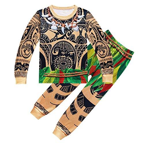Pjs Long Piece 2 - AOVCLKID Moana Maui Boys Cartoon Comfy Loose 2-Piece Long Pajama Set Sleepwear (130/6-7Y, Long Sleeve 4)