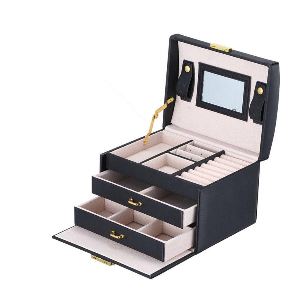 Asvert Caja Joyero Organizador de Joyerías 3 Niveles Cuero con Espejo 17.5x14x13cm, Blanco Perlado