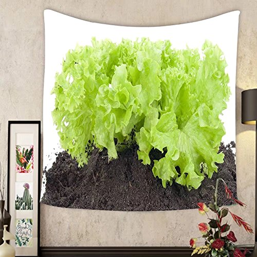Jacquelyn A. Velasquez Custom tapestry green bush of salad on soil humus bed isolated