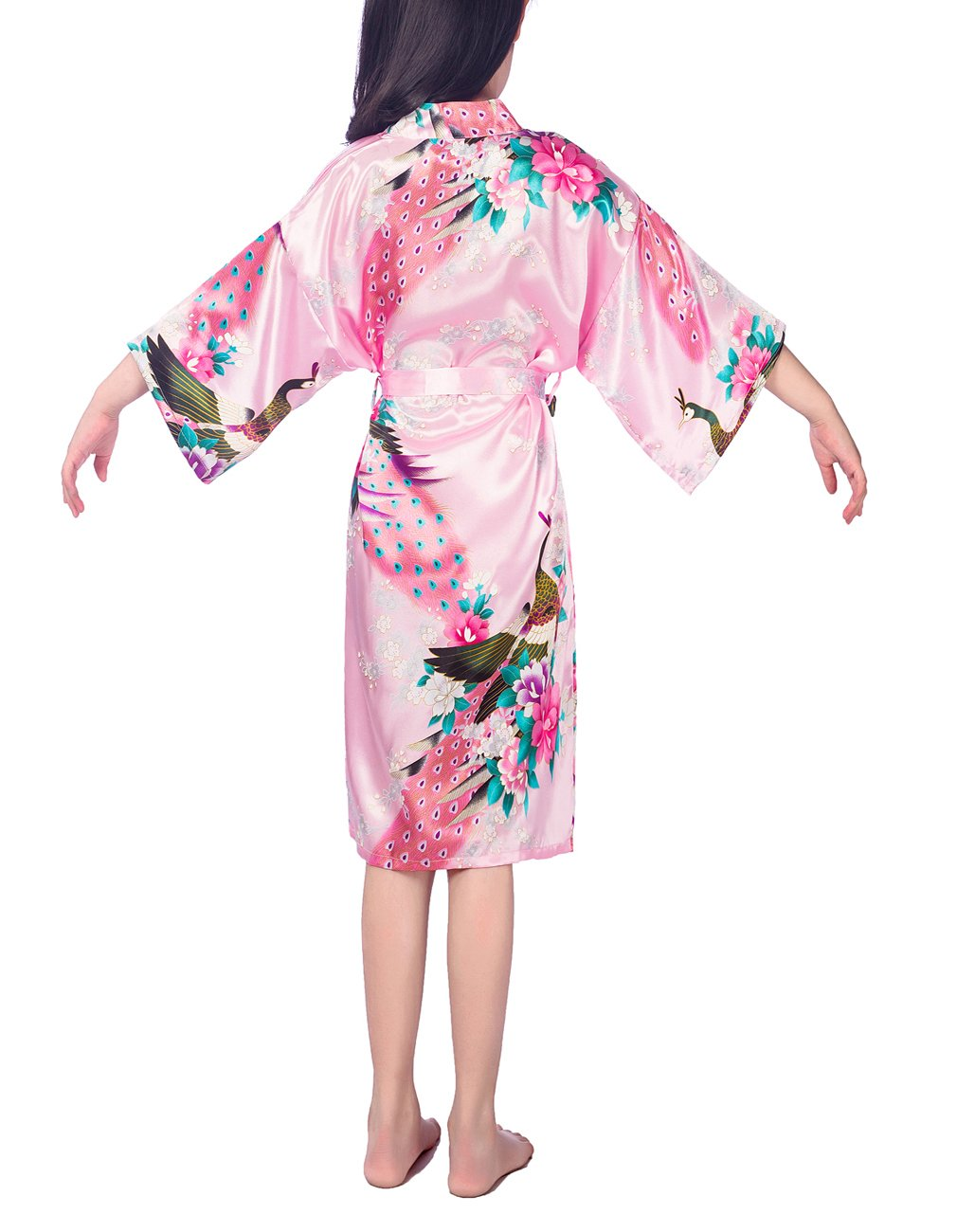 4# , White Defal Kids Children Girls Satin Peacock Flower Kimono Robe Cute Bathrobe Sleepwear for Spa Party Wedding Birthday Height 31.5-35.5 inch//2-3 years