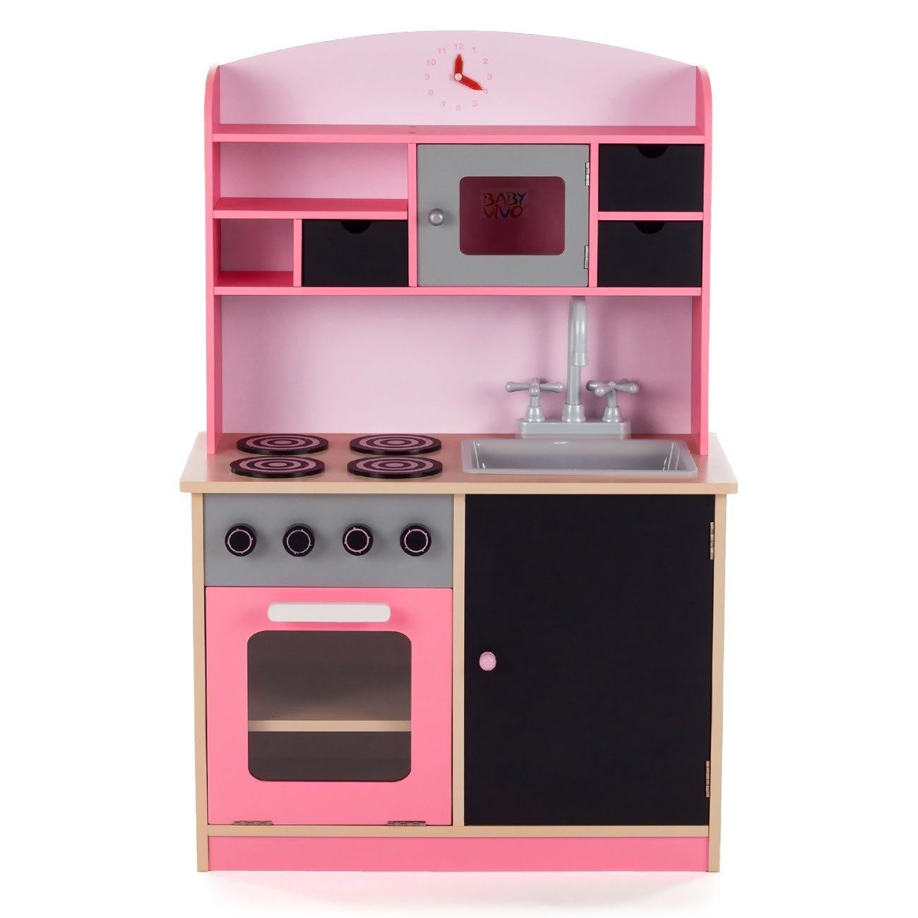 Innenarchitektur Pinke Küche Ideen Von Baby Vivo Kinderküche Spielküche Aus Holz Kinderspielküche