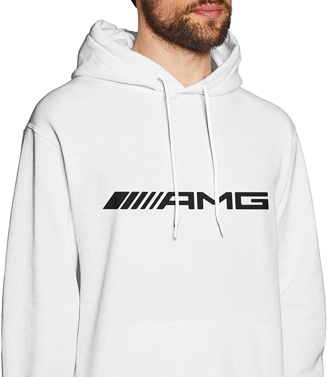 C-JOY Amg-Logo Mens Hoodies Pullover Hooded Sweatshirt Jackets White