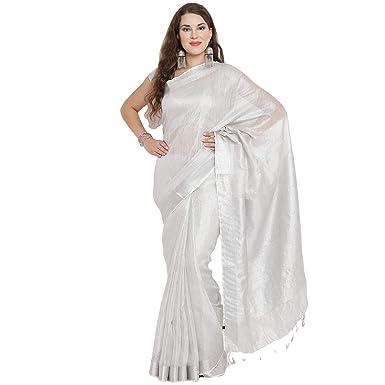 424d7851d29 BLACK ORANGE Women s Silver Tissue Linen Saree with two blouse piece ...