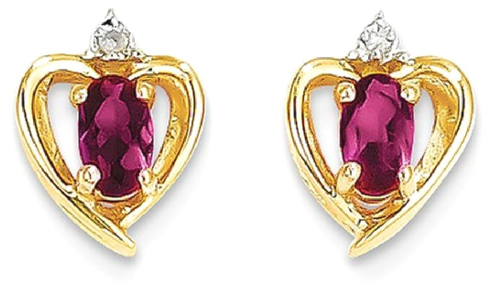 ICE CARATS 14k Yellow Gold Diamond Red Ruby Post Stud Ball Button Earrings Birthstone July Love Set Style Fine Jewelry Gift Set For Women Heart by ICE CARATS