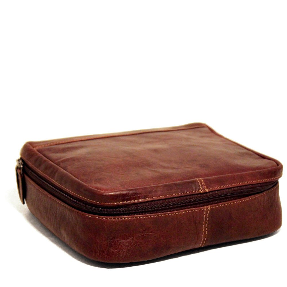 Jack Georges Voyager Large Leather Dopp Kit, Travel Kit in Brown by Jack Georges