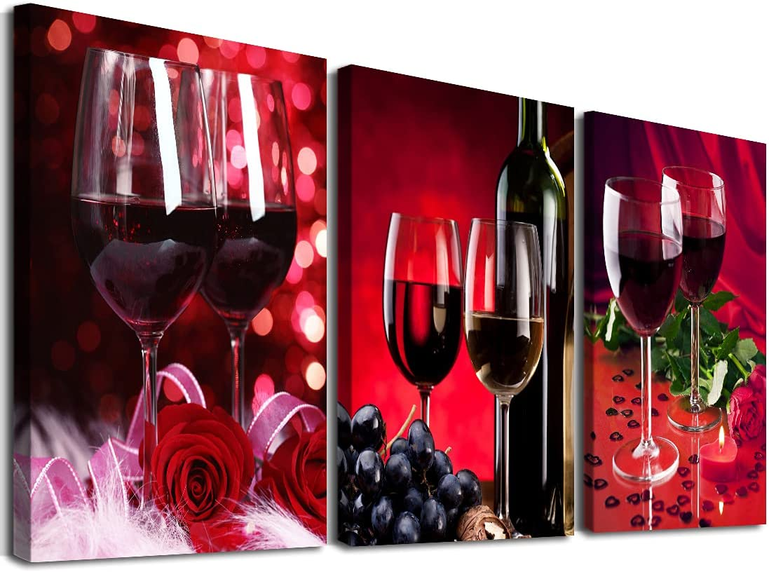 3 Piece Canvas Wall Art Modern Red Wine Rose Pictures Grape Cups Painting Food Glass Photograph Framed Walls Decor Print Romantic Vintage Artwork for Dining Room Restaurant Kitchen Wall Decor 12