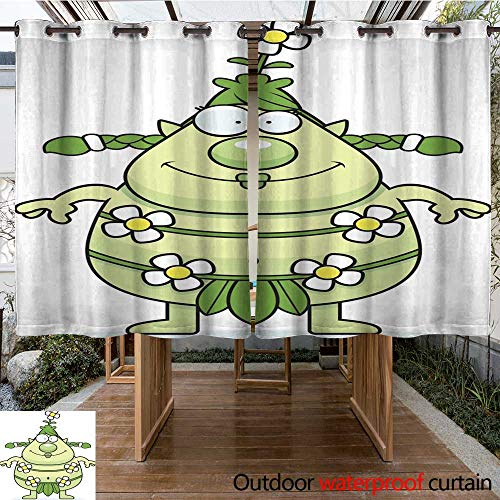 RenteriaDecor Outdoor Curtains for Patio Sheer Happy Cartoon Forest Sprite W63 x L72