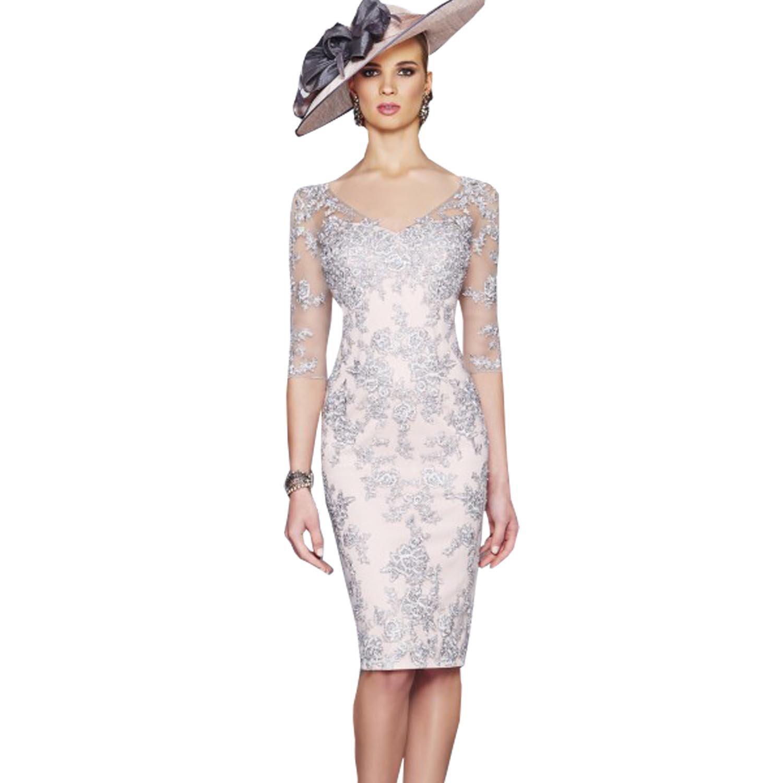 dressvip V-Neck Half Sleeves Light Grey Lace Prom Gown Knee Long for Women