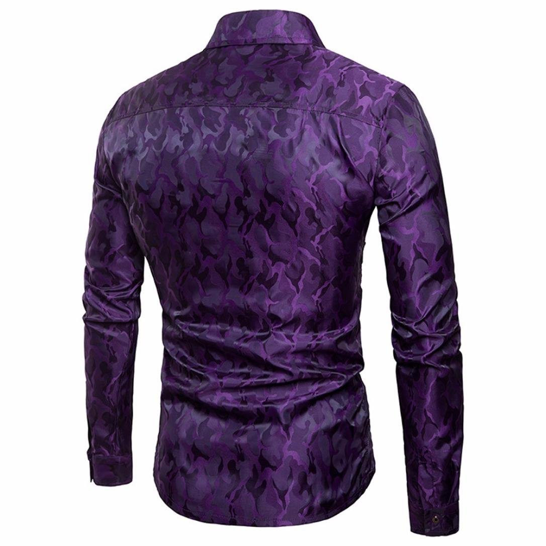 ee5f6b8a0e98aa Amazon.com: Charberry Mens Camouflage Design Silk Long Sleeve Shirt Stripe  Long Sleeve Casual Button Shirts Formal Top Blouse (US-M/CN-L, Wine Red):  Baby