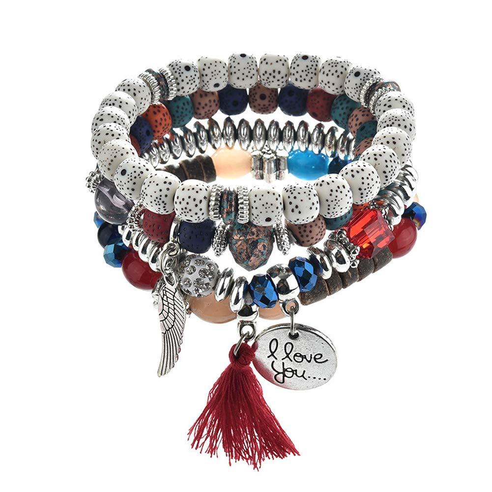 Hobbyant Vintage Ethnic Style Wings Round Letter Multi-Layer Tassel Bracelet for Women
