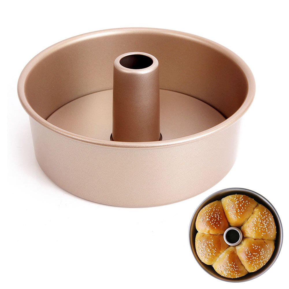 LUFEIYA Angle Food Pan 8 inch Non-Stick Natural Aluminum Commercial Removable Loose Bottom Cake Pan Gold by LUFEIYA (Image #1)