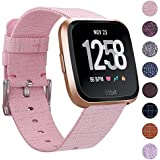 EZCO Compatible Fitbit Versa Bands, Woven Fabric Breathable Watch Strap Quick Release Replacement Wristband Accessories Compatible Fitbit Versa Smart Watch Women Man, Pink