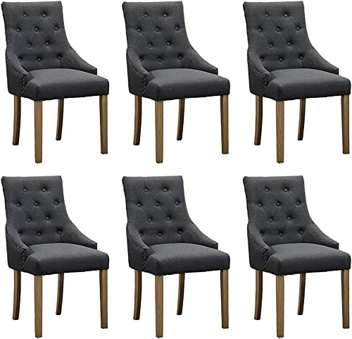 Taupe Dining Room Armchairs Set of 6 Kitchen Chair