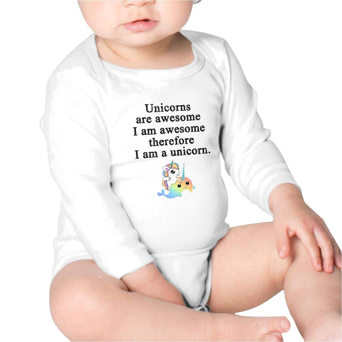 Unicorns are Awesome Therefore Im A Unicorn Kids Cotton,Long Sleeve Infantile Suit