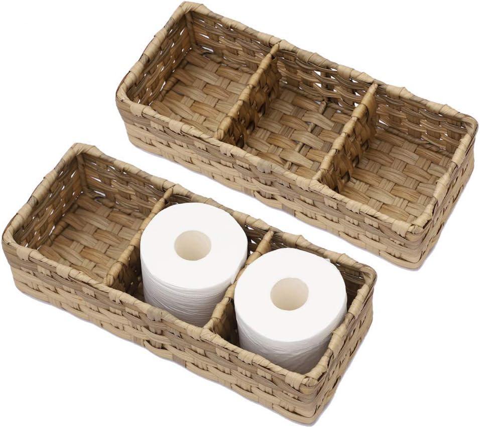 Amazon Com Hosroome Toilet Paper Basket Larger Compartments Storage Basket For Toilet Tank Top Bathroom Storage Organizer Basket Bin Decorative Basket For Bathroom Set Of 2 Beige Home Kitchen