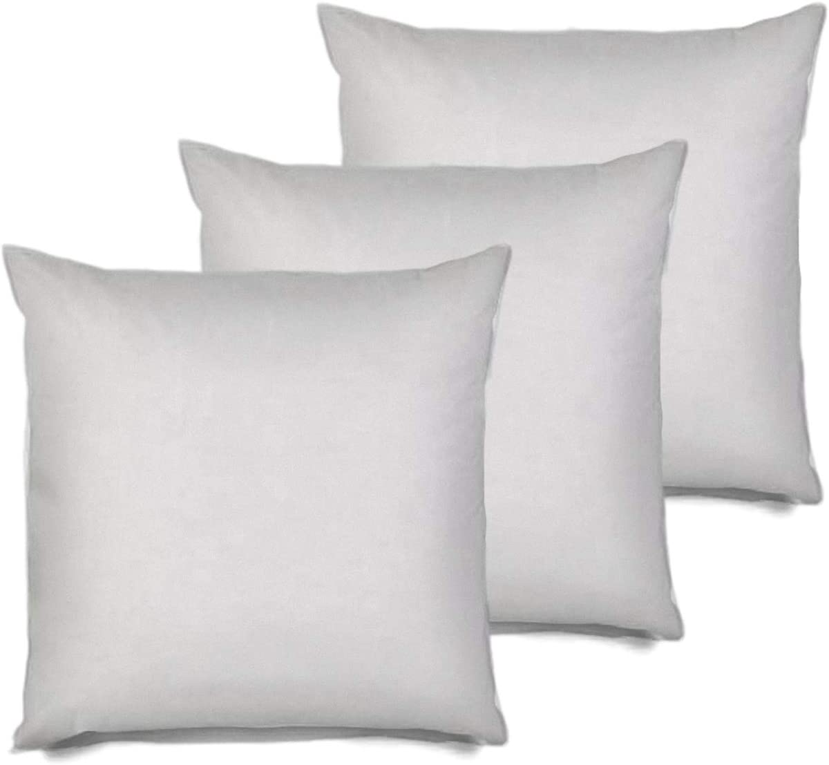 MSD 3 Pack Pillow Insert 30X30 Hypoallergenic Square Form Sham Stuffer Standard White Polyester Decorative Euro Throw Pillow Inserts for Sofa Bed - Made in USA (Set of 3) - Machine Washable and Dry