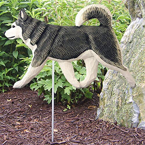 Ky & Co YesKela Alaskan Malamute Outdoor Garden Sign Hand Painted Figure Gray/White