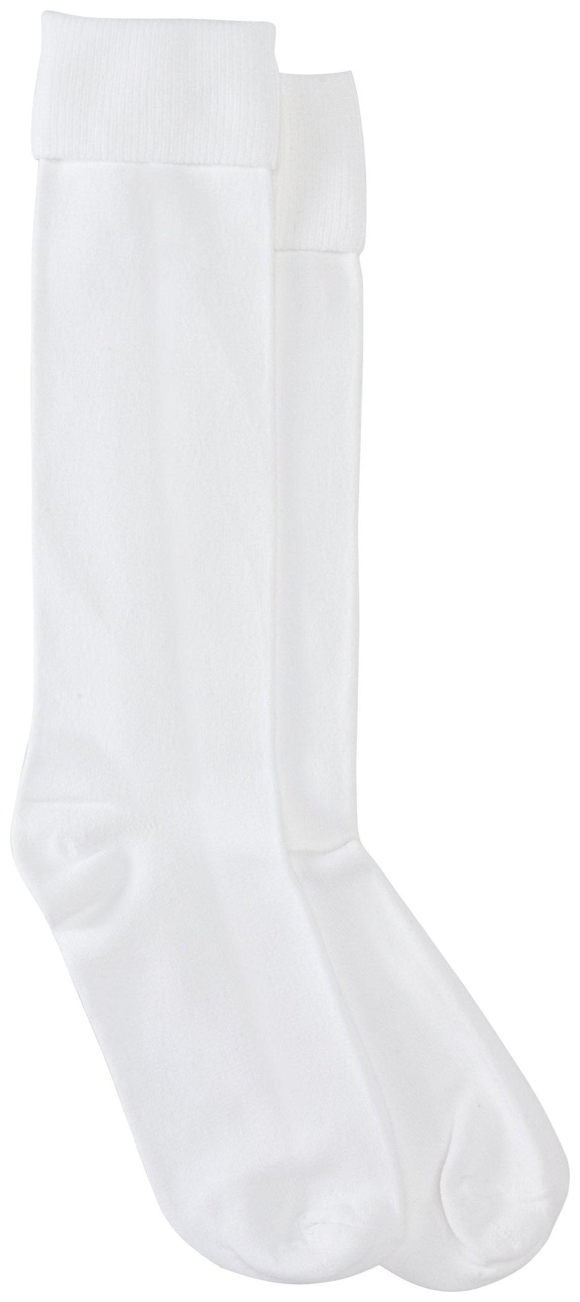 Jefferies Socks Little Girls' School Uniform Nylon Knee High (Pack of 6), White, 7-8.5