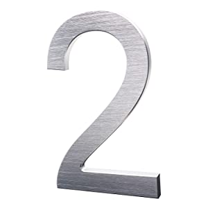 6 Inch Modern House Numbers- Premium Aluminum Floating Home Address Number with Exquisite Drawing Process, Silver, Number 2
