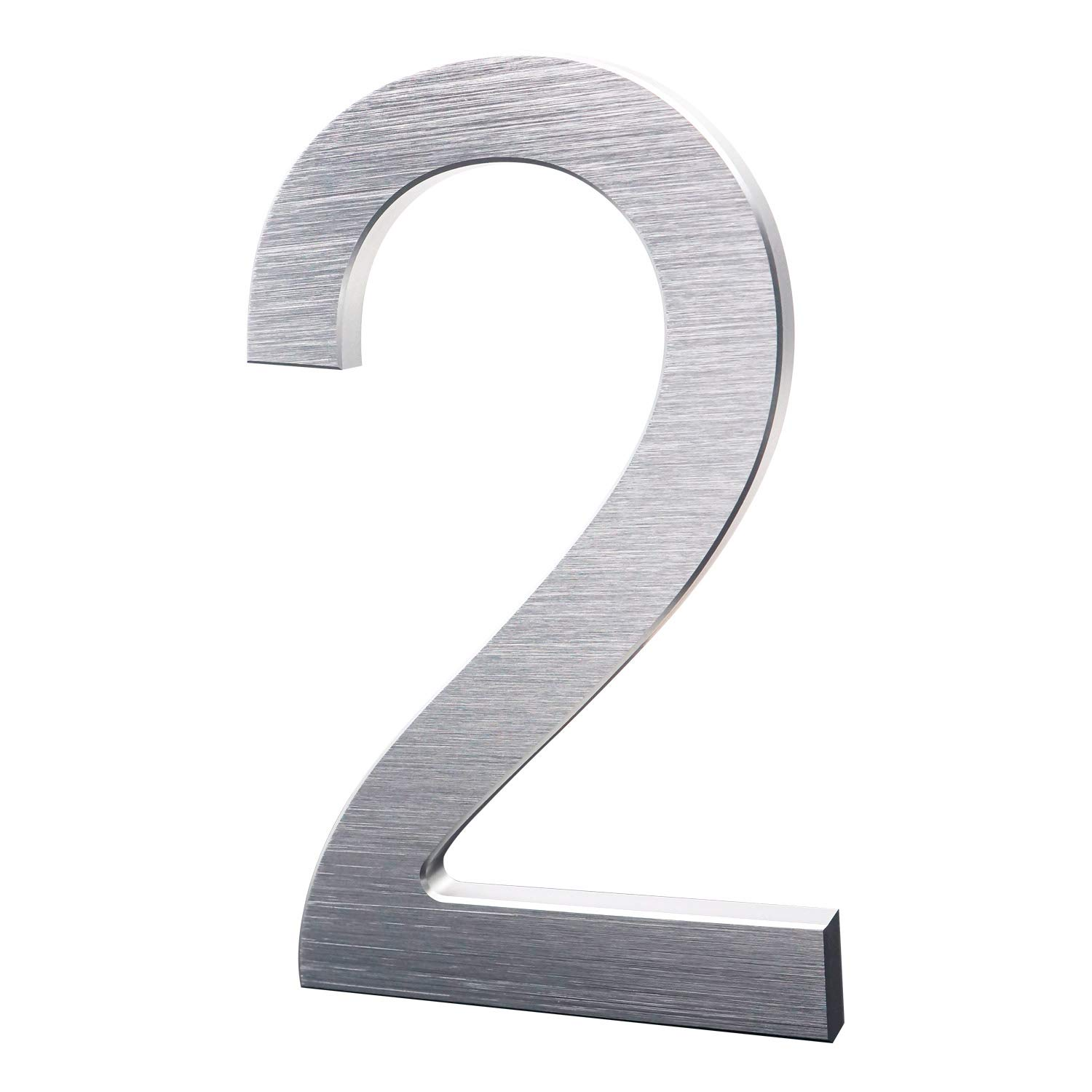 8 Inch Modern House Numbers- Premium Aluminum Floating Home Address Number withElegant & Sophisticated Brushed Finish, Silver, Number 2