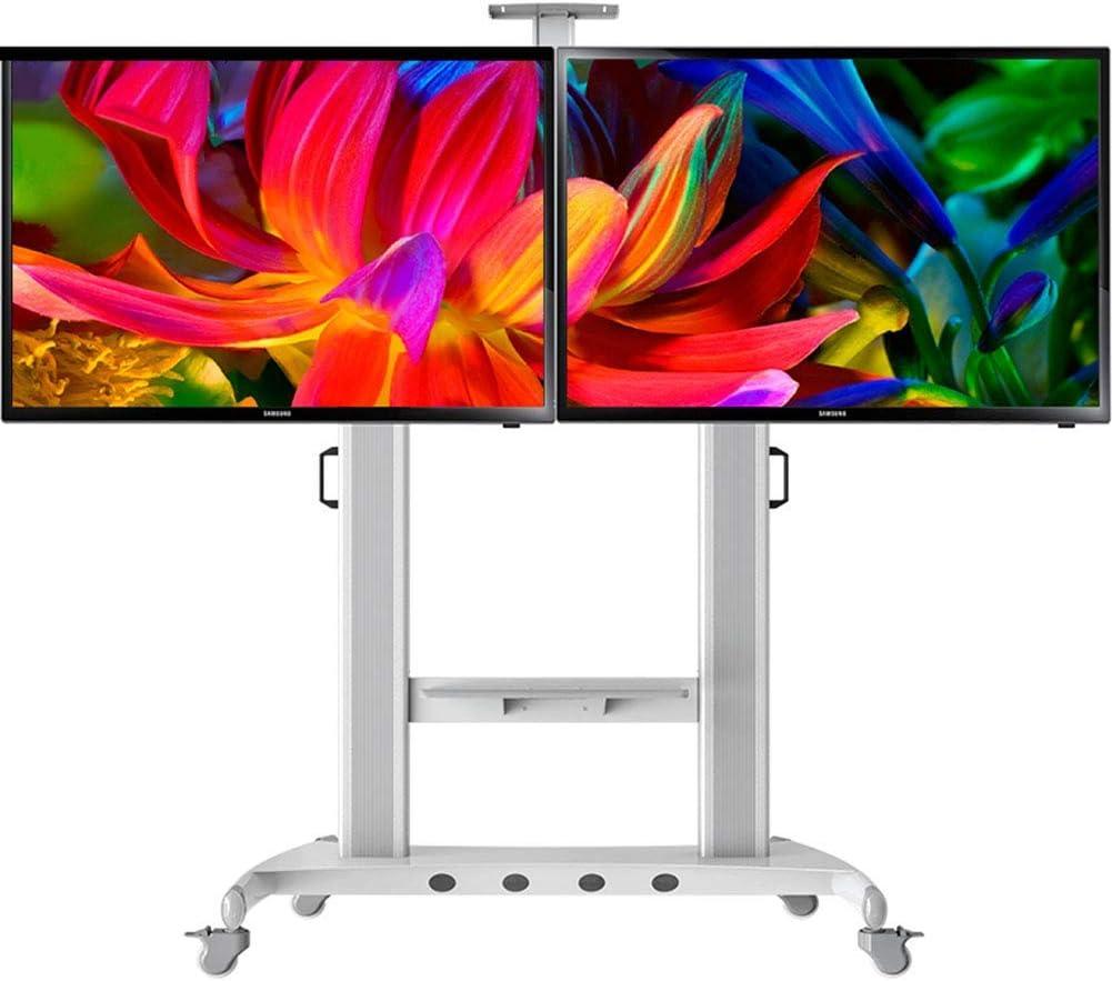 Jsmhh TV móvil de la Compra, de Doble Cara de la Pantalla de TV Soporte con Ruedas for LCD 40 a 65 Pulgadas de Pantallas Planas de Plasma LED OLED for oficinas,