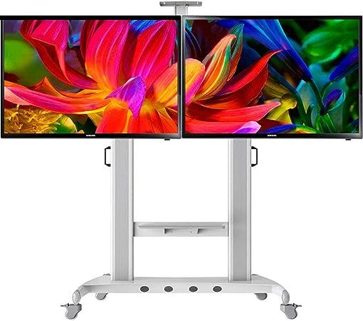 YUIOLIL 40-65 Pulgadas LCD LED OLED Pantallas Planas de Plasma Pantalla de Doble Cara Soporte de TV Oficinas Exposiciones Carro de TV móvil: Amazon.es: Hogar