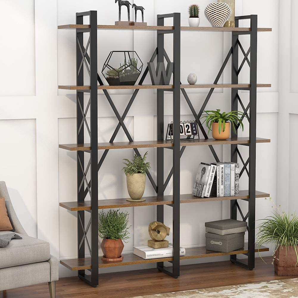 Tribesigns Double Wide 5-Shelf Bookcase, Etagere Large Open Bookshelf Rustic Industrial Style Shelves Wood and Metal bookcases Furniture for Home & Office, Vintage Brown