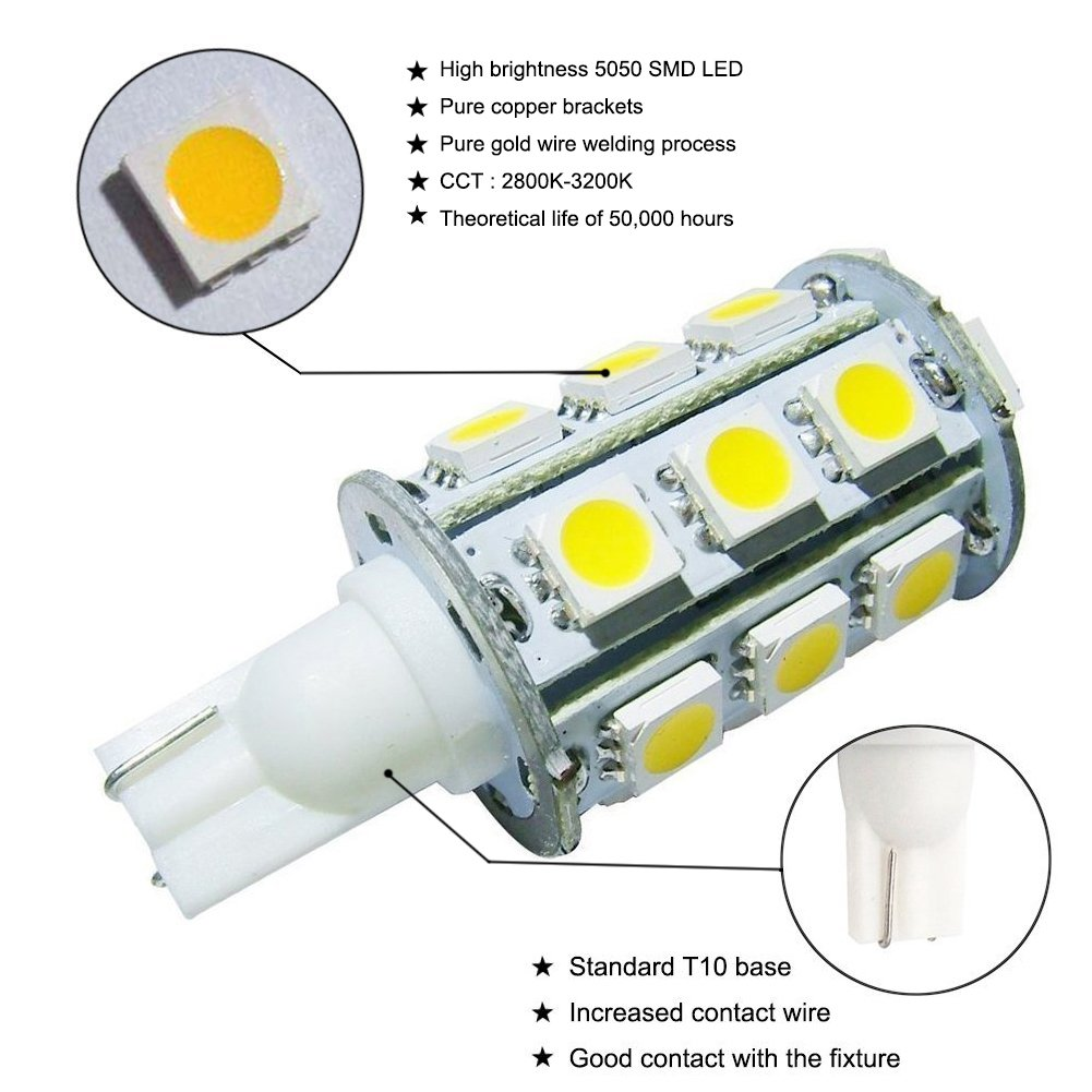 Grv T10 921 194 24 5050 Smd Led Bulb Lamp Super Bright Trailer Wiring Color Code Ireland Warm White Dc 12v Pack Of 2 Automotive